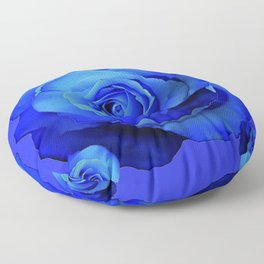BLUE ROSES & BLUE  MODERN ART CONCEPT Floor Pillow
