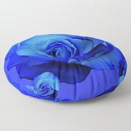 BLUE ROSES & BLUE  MODERN ART CONCEPT Floor Pillow