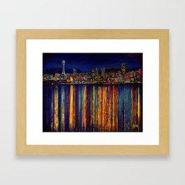 Seattle Night Skyline #2 Framed Art Print