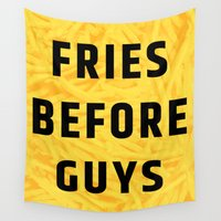 fries Wall Tapestries featuring Fries Before Guys (Subtle Halftone) by CreativeAngel