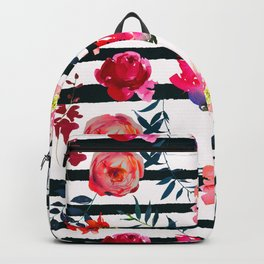 Black white pink floral watercolor stripes pattern Backpack