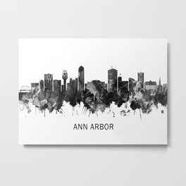 Ann Arbor Michigan Skyline BW Metal Print