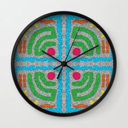 Square Stamp Multi Blue Wall Clock