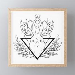 Lunar Rabbit / Jackalope // Black Framed Mini Art Print