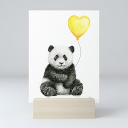 Panda with Yellow Balloon Baby Animal Watercolor Nursery Art Mini Art Print