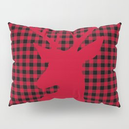 Red Plaid Deer Stag Design Pillow Sham