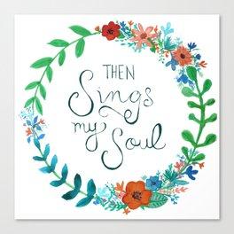 My Soul Sings Floral Wreath Canvas Print