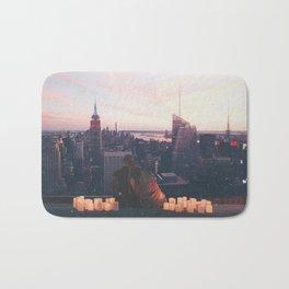 new york city skyline and couple-romance on the rooftop Bath Mat