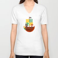 pirate ship V-neck T-shirts featuring pirate ship by Alapapaju