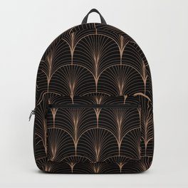 Art Deco Midnight Pattern Gold Black Backpack