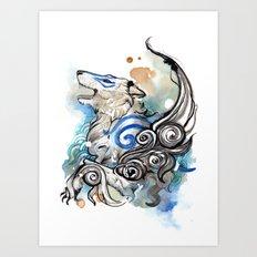 Blue Okami Amaterasu Art Print