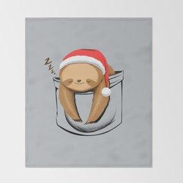 Sloth in a Pocket Xmas Throw Blanket