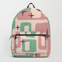 Retro Mid Century Modern Abstract Pattern 222 Dusty Rose and Pastel Green Backpack