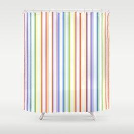 Split Rainbow Mattress Ticking Wide Stripes Pattern Shower Curtain