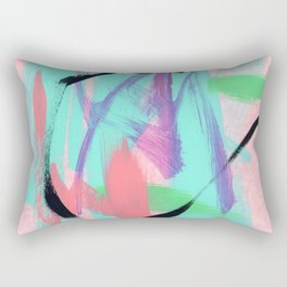 Don't Be Afraid - colorful abstract painting pink turquoise aqua mint green modern art Rectangular Pillow