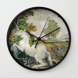 Medieval Pepe The Frog Domenichino Unicorn Pal Farnese Rare Pepe Wall Clock