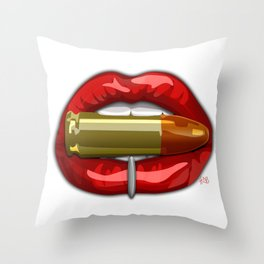 Biting The Bullet Pierced Red Lips on White Throw Pillow