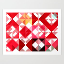 Mottled Red Poinsettia 2 Abstract Triangles 1 Art Print
