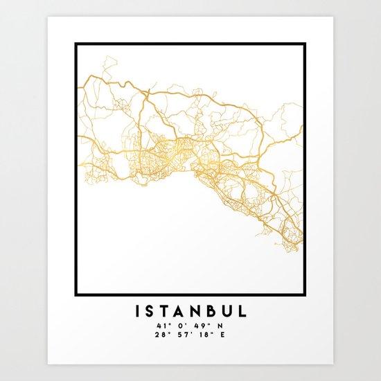 ISTANBUL TURKEY CITY STREET MAP ART by deificusart