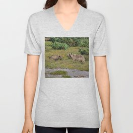 Kamchatka brown bears (mother and cub) Unisex V-Neck