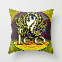 astrology Throw Pillows featuring Leo Zodiac Sign Astrology by CAP Artwork & Design