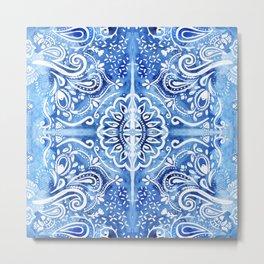 Batik Blue and White Mandala Metal Print