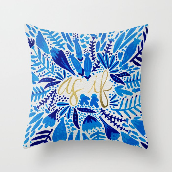 As If Navy Gold Throw Pillow By Catcoq Society6