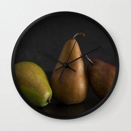 Still LIfe of Fresh Pears on a Dark Surface Wall Clock