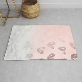 Rose Gold Hearts Marble Gradient Rug