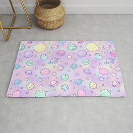 Pastel Planets Doodle Rug