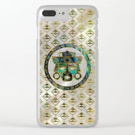Tribal Ethnic  Mask Gold on Abalone Shell and Pearl Clear iPhone Case