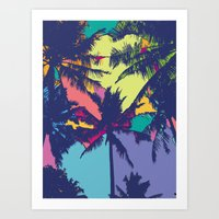 palm tree Art Prints featuring Palm tree by PINT GRAPHICS