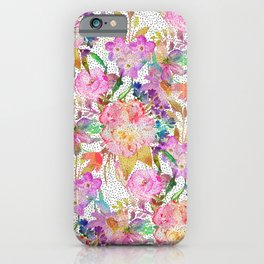 Elegant watercolor floral and dotted brush strokes iPhone Case