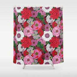 Vintage Florals Geranium Shower Curtain
