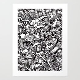 Tongue Tide (Psychedelic Black and White Drawing) Art Print
