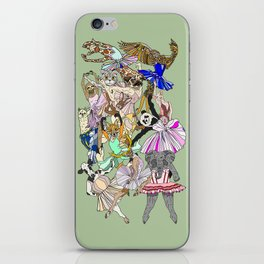 Animal Ballet Hipsters - Green iPhone Skin