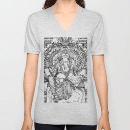Genish black and white line drawing Unisex V-Neck