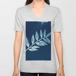 Minimal Ruscus blue botanical fine art plant print / vintage cyanotype Art Print Unisex V-Neck