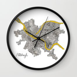 Pittsburgh Neighborhoods | 3 Gold Rivers Wall Clock