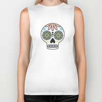 sugar skull Biker Tanks featuring Sugar Skull by Liz Urso