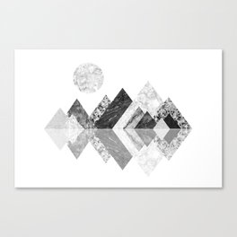 Geometrical mountains in black and white - Scandinavian art Canvas Print