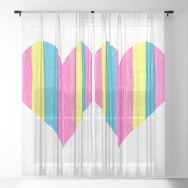 Neon Striped Heart Sheer Curtain