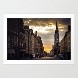 Royal Mile Sunrise in Edinburgh, Scotland Art Print