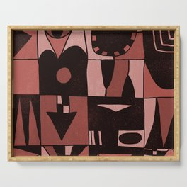 Geometric shapes #4 red Serving Tray