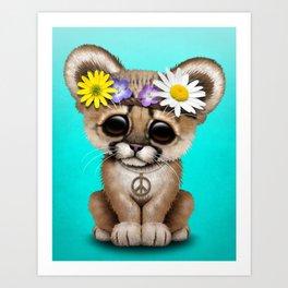 Cute Baby Cougar Cub Hippie Art Print