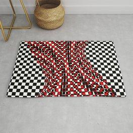 black white red 4 Rug