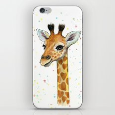 Baby Giraffe with Hearts Watercolor Whimsical Animal Nursery Print iPhone & iPod Skin