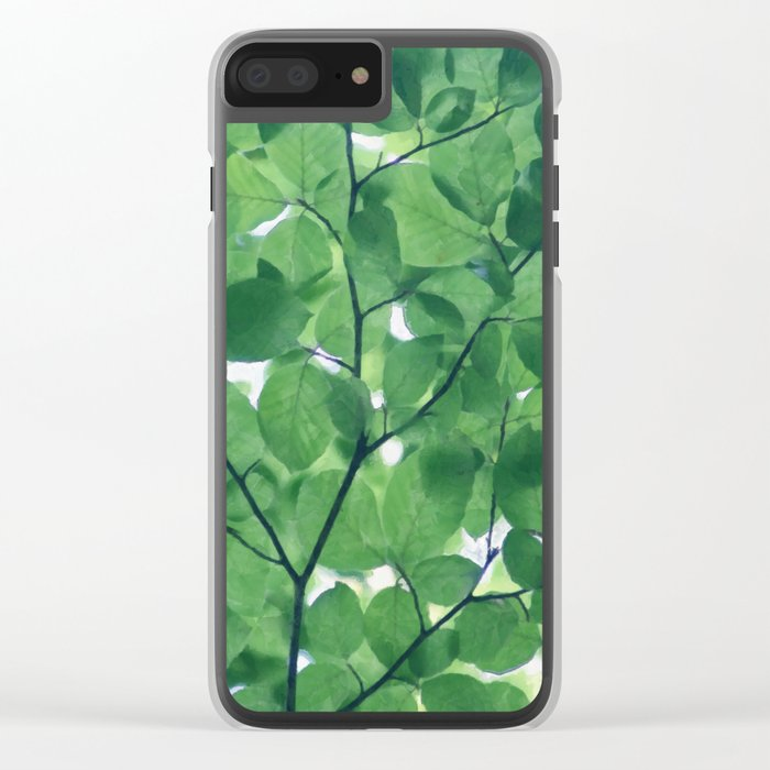 Greenery leaves Clear iPhone Case