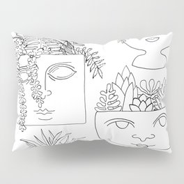 Illustrated Plant Faces in White Pillow Sham