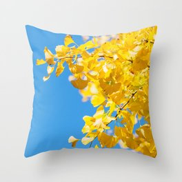 Sky and Leaf Throw Pillow